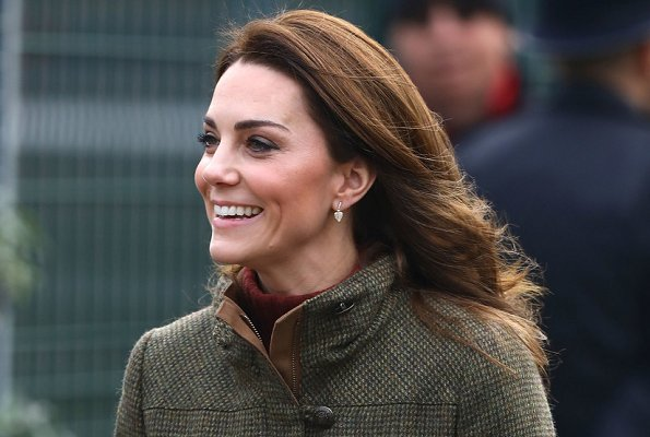 Kate Middleton wore Dubarry jacket, See By Chloe ankle boots, KIKI McDonough Lauren gold diamond pave leaf earrings