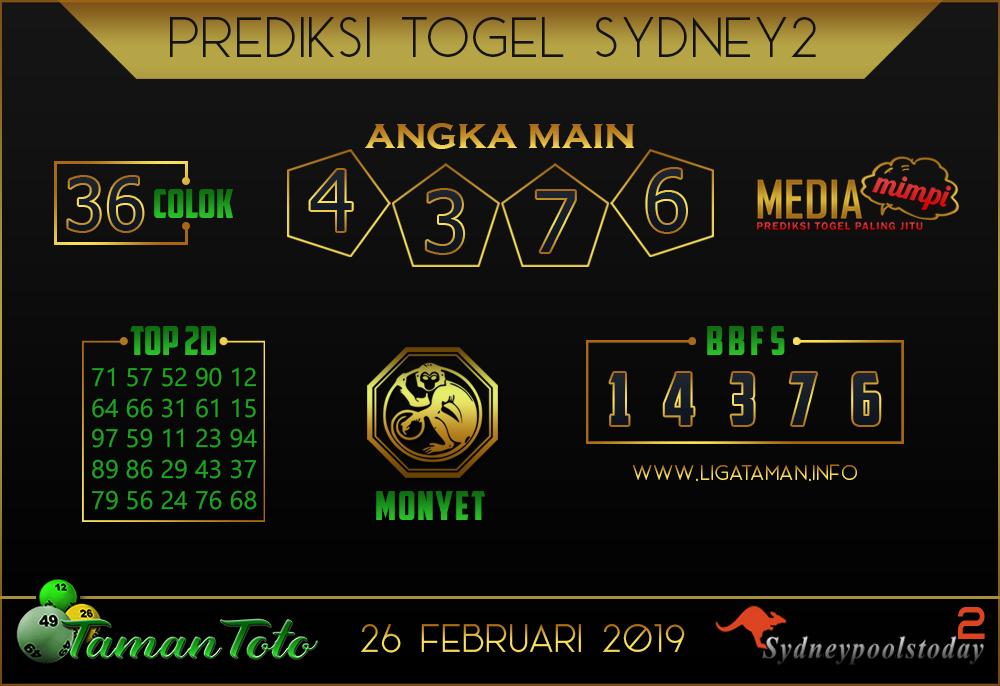 Prediksi Togel SYDNEY 2 TAMAN TOTO 26 FEBRUARI 2019
