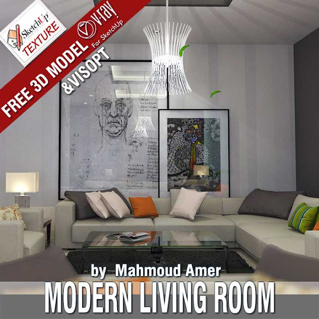 free sketchUp 3D model Modern Living room and vray visopt