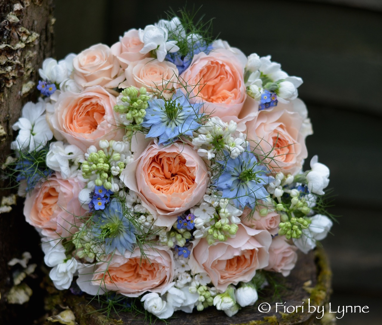 Wedding Flowers Blog Emilys Peach And Blue Wedding Flowers