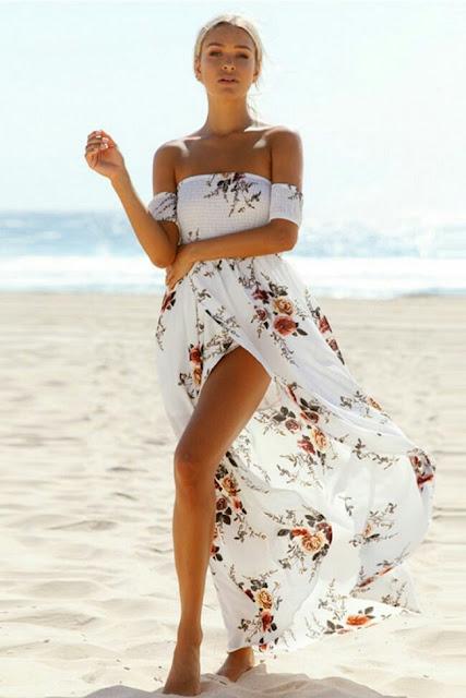 Beach fashion maxi floral Dress