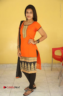 Telugu Actress Chandana Stills in Salwar Kameez at Karam Dosa Movie Press Meet  0112.JPG