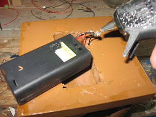 Soldering things together and weatherproofing with hot glue