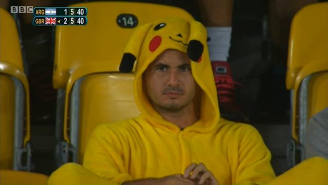 Pikachu fur suit Argentina Great Britain game Rio 2016 Olympics tennis man Vortexica