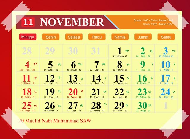 Download Kalender November 2018 Hijriyah Jawa Dan Pasaran