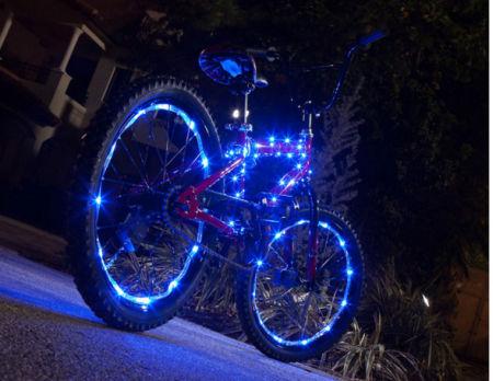 deze led verlichting voor je fiets is te koop in diverse kleuren groen blauw en rood al deze kleuren zijn op de fotos op deze pagina te zien