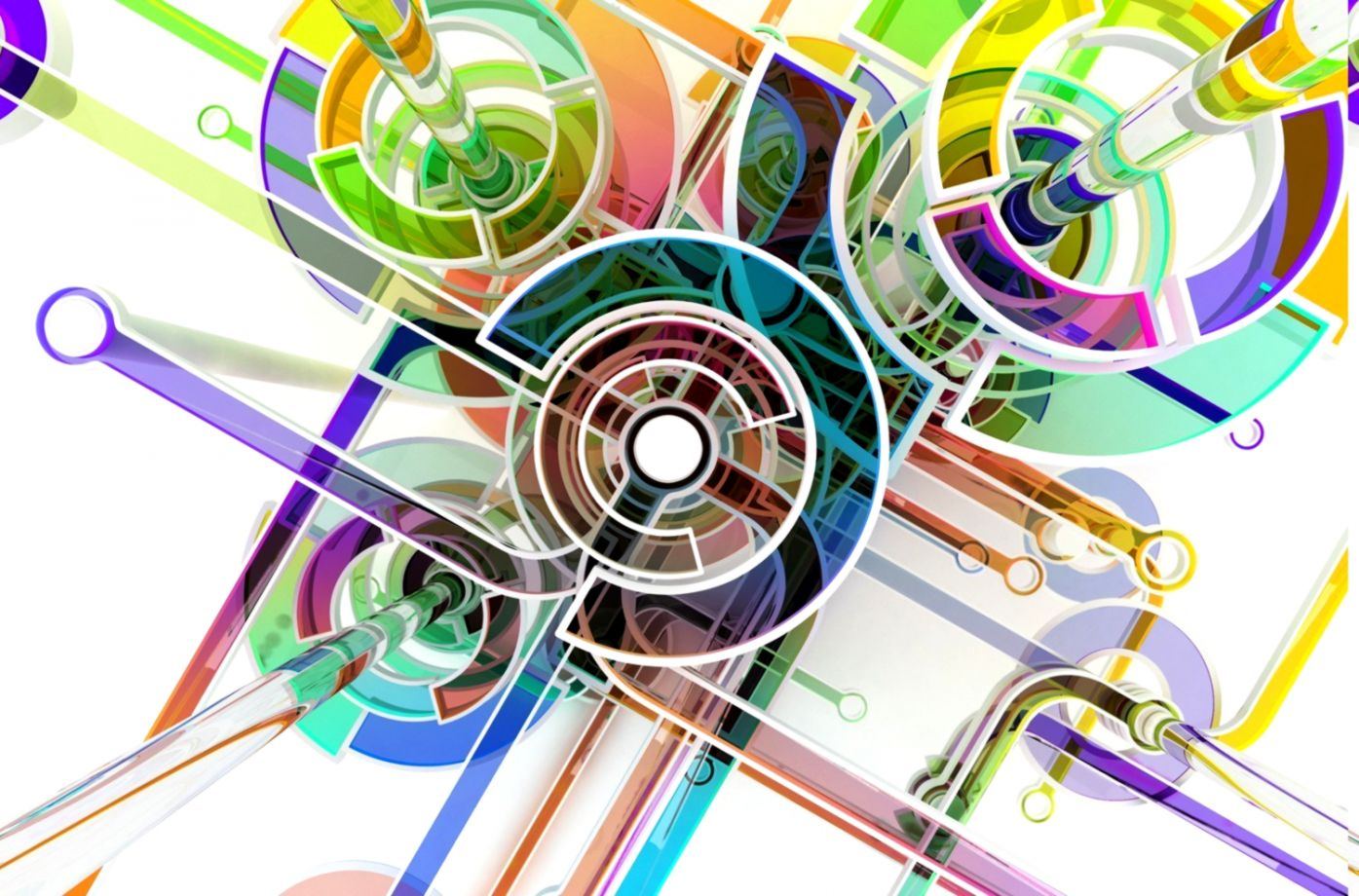 Wallpaper 1500x1000 Px 3D Abstract Circle Colorful Digital
