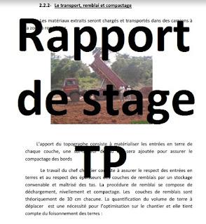 rapport de stage travaux publics - terrassement et matériaux de remblais