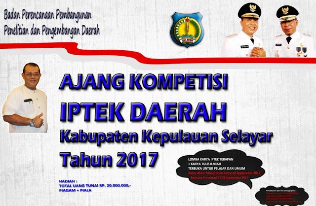 Hasil Kompetisi IPTEK Daerah 2017, Akan Diumumkan Via Web Resmi Bappelitbangda