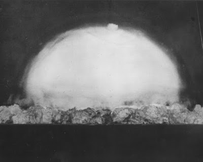 Photo of first atomic bomb 0.053 sec after detonation on 16 July 1945.