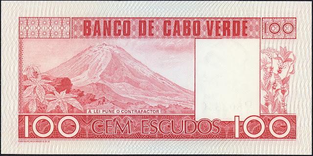 Cape Verde 100 Escudos banknote 1977 Fogo volcano