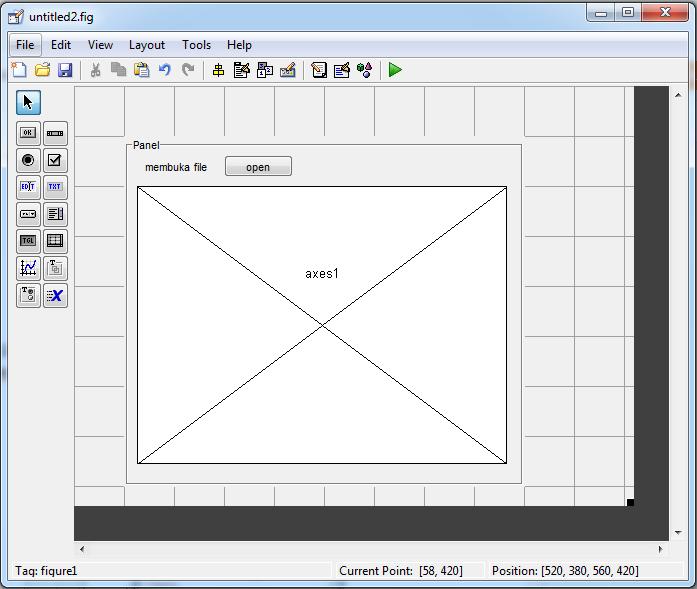 perancangan GUI dengan axes , button dan panel