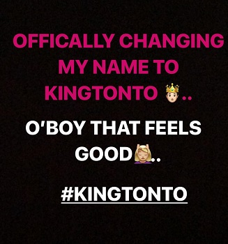 Tonto Dikeh  changes name to King Tonto