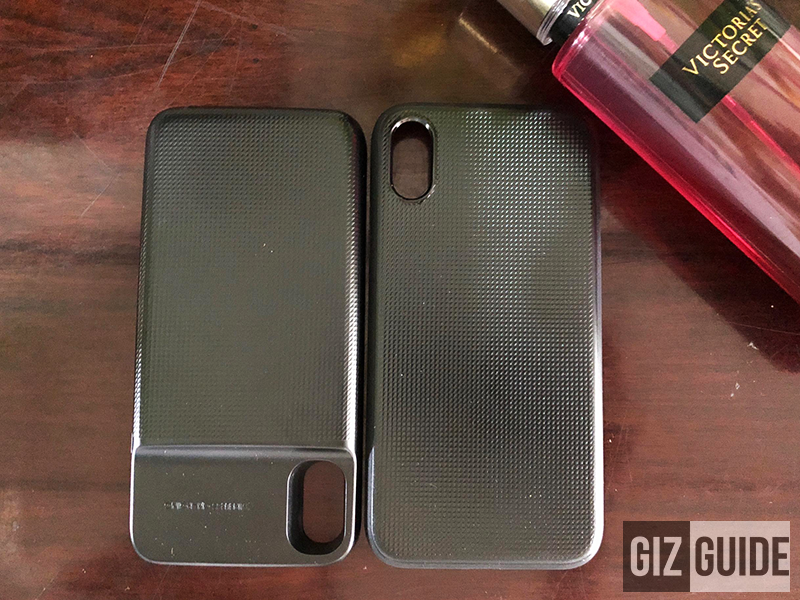 The wireless charger power bank (left) and case (right)