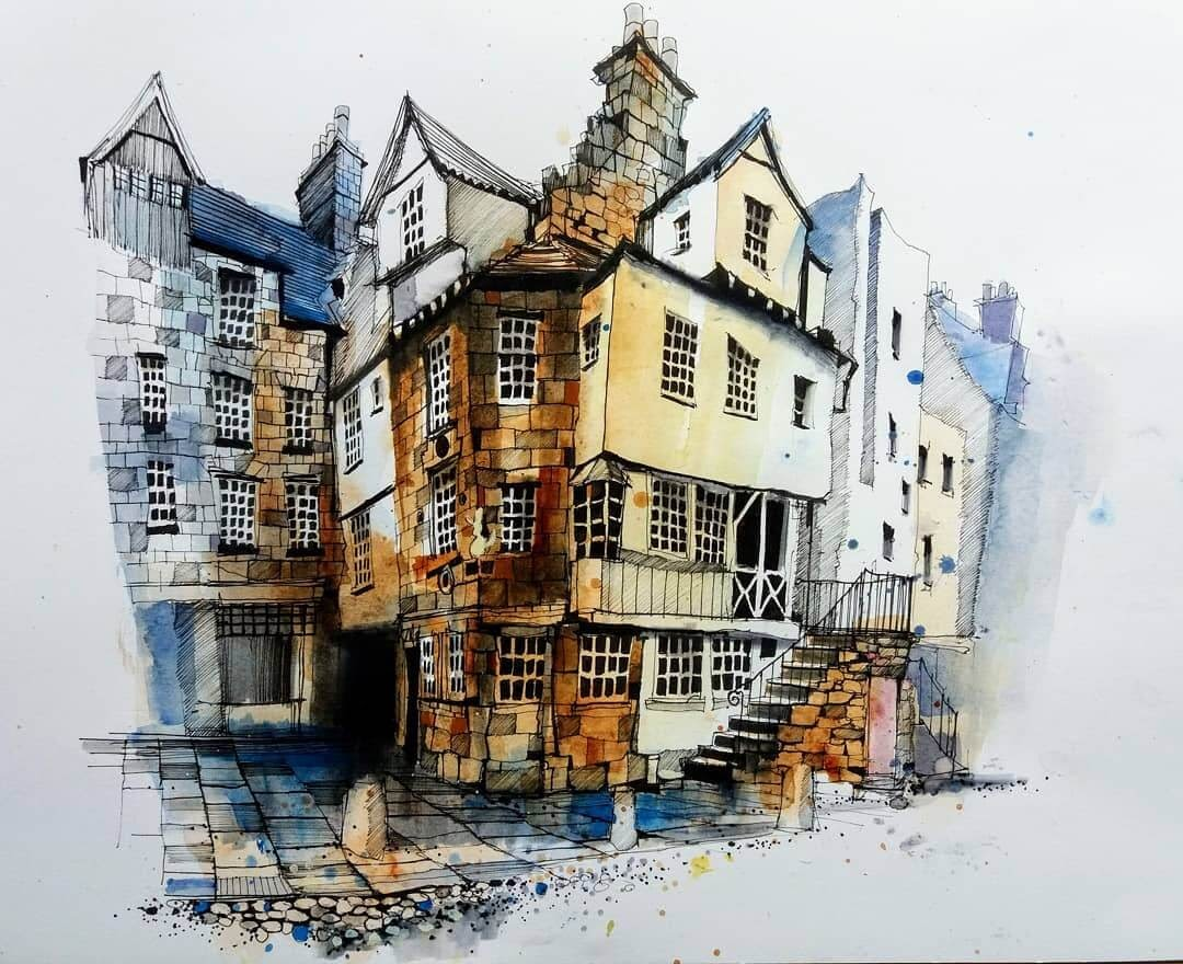07-Edinburgh-Scotland-Ian-Fennelly-Urban-Sketches-Colorfully-Painted-www-designstack-co