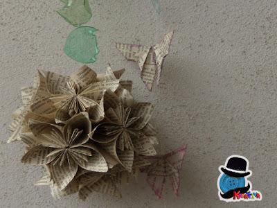 kusudama balls origami modulare con carta di riciclo