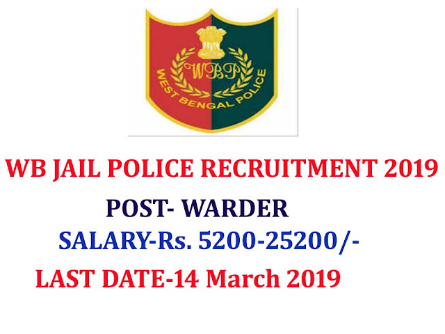 WB POLICE recruitment 2019 apply online,WB POLICE recruitment 2019  warder post,west bengal police recruitment 2019,WB Police Recruitment Alert 2019 Apply for 816 Warder