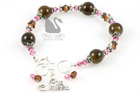 Carissa's Custom Pink and Brown Crystal Sweet 16 Bracelet (B160)