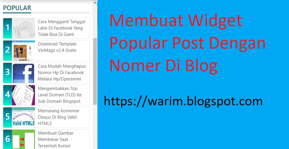 Membuat Popular Post Dengan Nomer