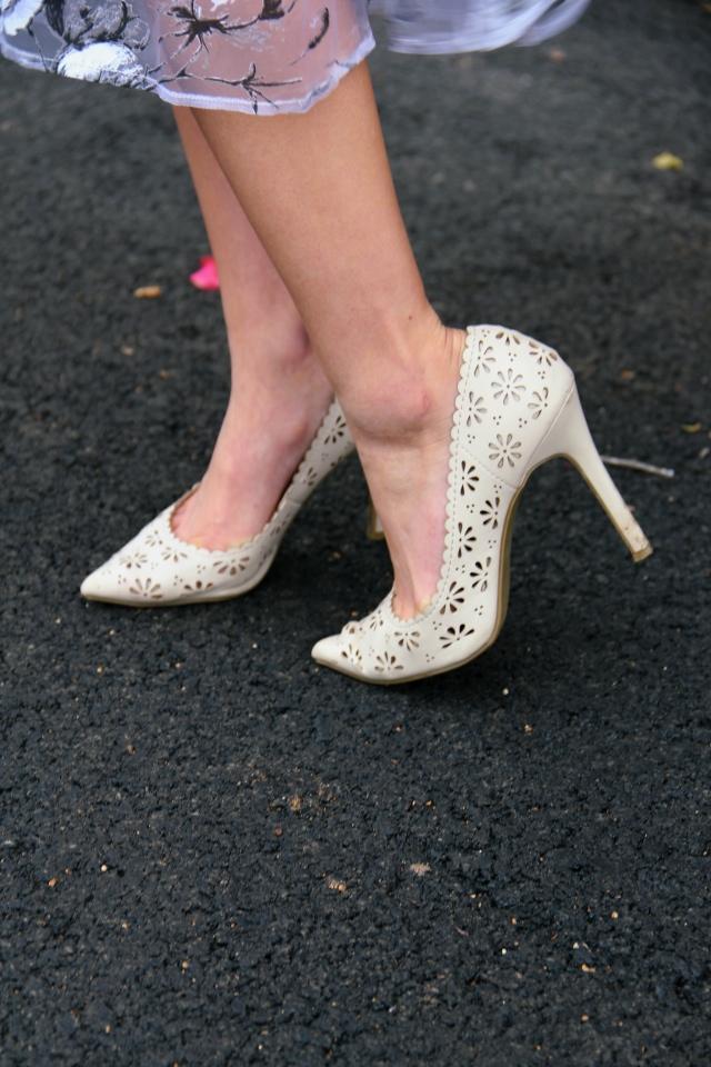 lc lauren conrad vegan leather floral eyelet heels nude