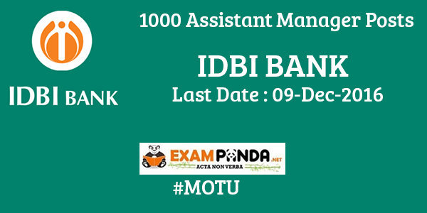 1000 Assistant Manager Posts in IDBI Bank