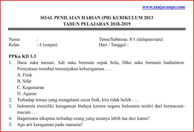 download soal uh tema 8 kelas 4 pdf 2019 2020
