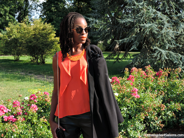 Lookbook | Faux Leather short x Orange Ruffles Lunettes Celine Satchel Valentino Escarpins NewLook
