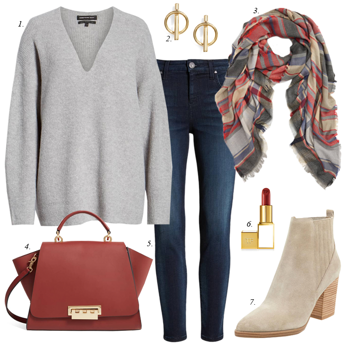 plaid scarf fall outfit