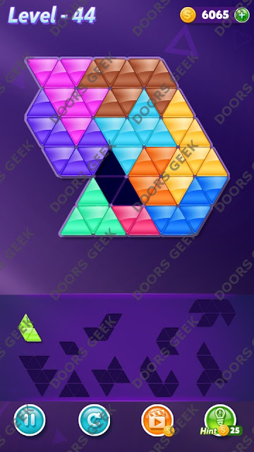 Block! Triangle Puzzle 10 Mania Level 44 Solution, Cheats, Walkthrough for Android, iPhone, iPad and iPod
