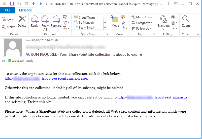 sharepoint site use confirmation and deletion