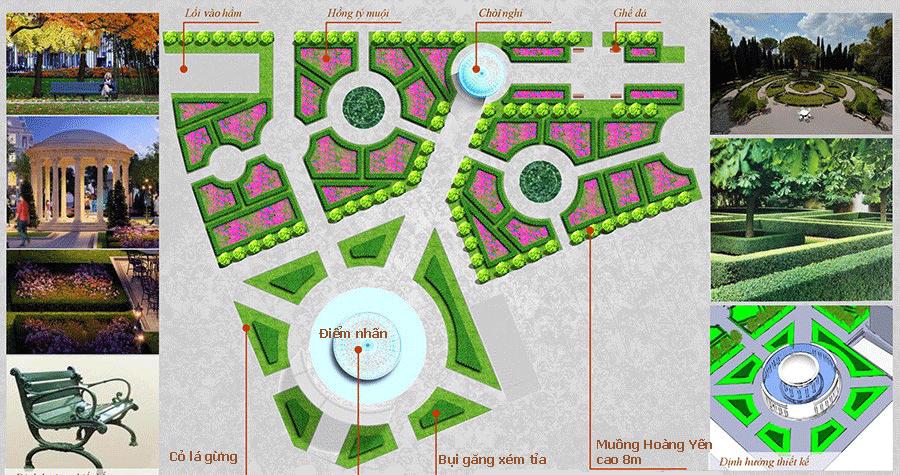 Vườn tiểu cảnh dự án Louis City Lã Vọng.