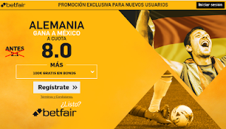 betfair supercuota 8 Alemania gana Mexico 29 junio