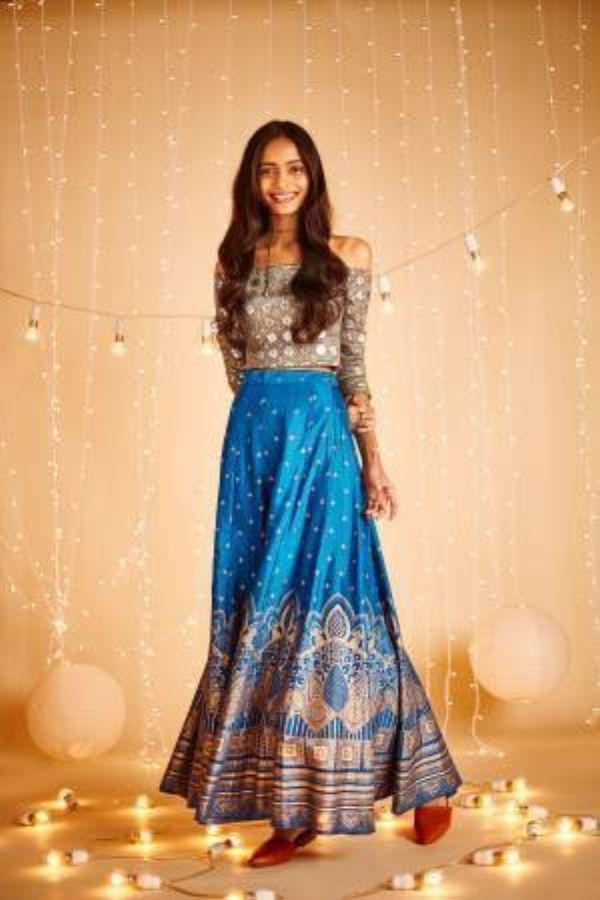 Nigella Floral Buti Blue Skirt
