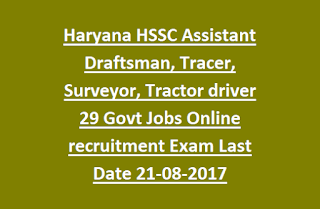 Haryana HSSC Assistant Draftsman, Tracer, Surveyor, Tractor driver 29 Govt Jobs Online recruitment Exam Last Date 21-08-2017