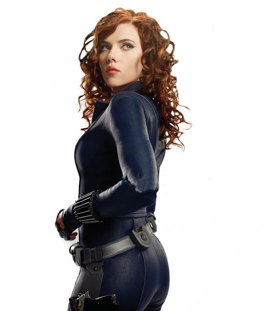 Scarlett Johansson as Black Widow, shot from rear, in Iron Man 2 movieloversreviews.filminspector.com