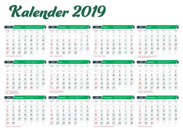 Download Kalender 2019 Lengkap Vektor CDR Corel Draw