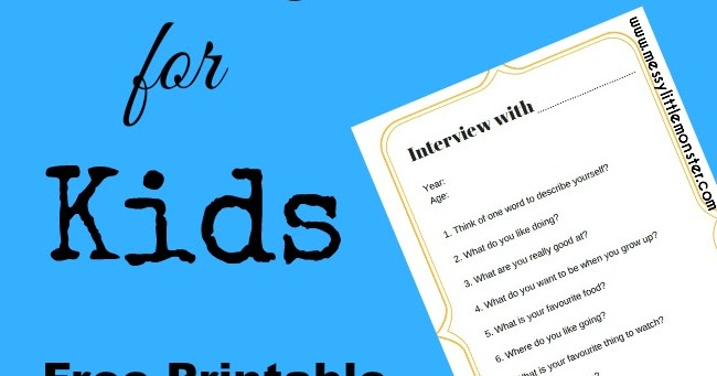 New Year Printable Interview Questions For Kids Messy
