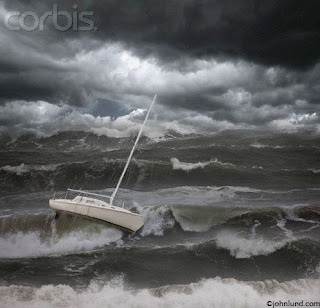 sinking boat in a bad weather and rough sea