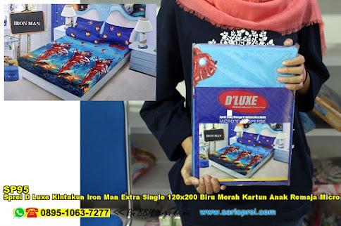 Sprei D Luxe Kintakun Iron Man Extra Single 120x200 Biru Merah Kartun Anak Remaja Micro Tex Disperse