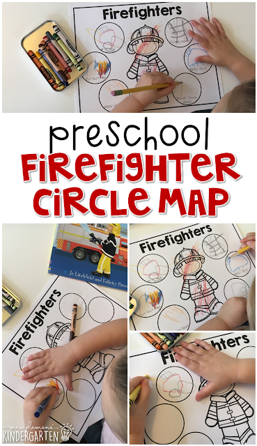 After reading several book about fire safety and firefighters, use this bubble map to record new learning. Great for tot school, preschool, or even kindergarten!