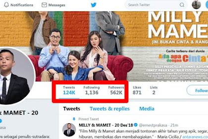 Banyakan Mana Follower Arie Untung dan Ernest Prakasa di Twitter ?