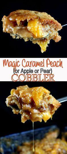 Magic Caramel Peach Cobbler