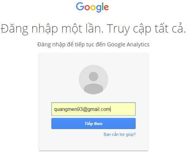 Đăng nhập bằng Gmail mà bạn muốn sử dụng dụng trên Google phân tích