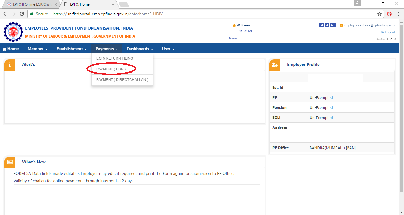 Payment Link on EPF page