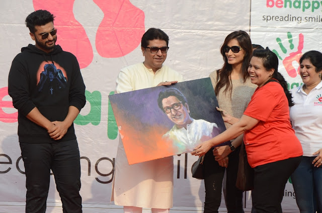 Arjun Kapoor, Raj Thackeray, Piya Valecha at Be Happy Event Lokhandwala Back Road
