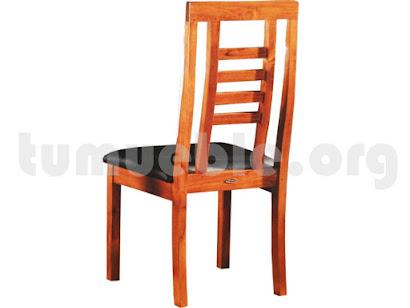 silla tapizada en teca 4092