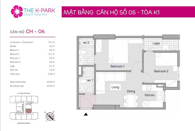 Căn hộ 06, 53m2, 02 phòng ngủ
