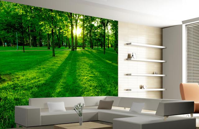 tapet natur skog fototapet grön landskap skogstapet fondtapet vardagsrum 3d