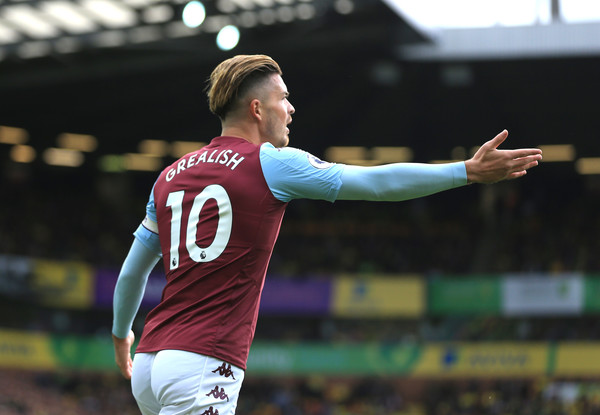 Jack Grealish of Aston Villa reacts during the Premier League match between Norwich City and Aston Villa at Carrow Road on October 05, 2019 in Norwich, United Kingdom