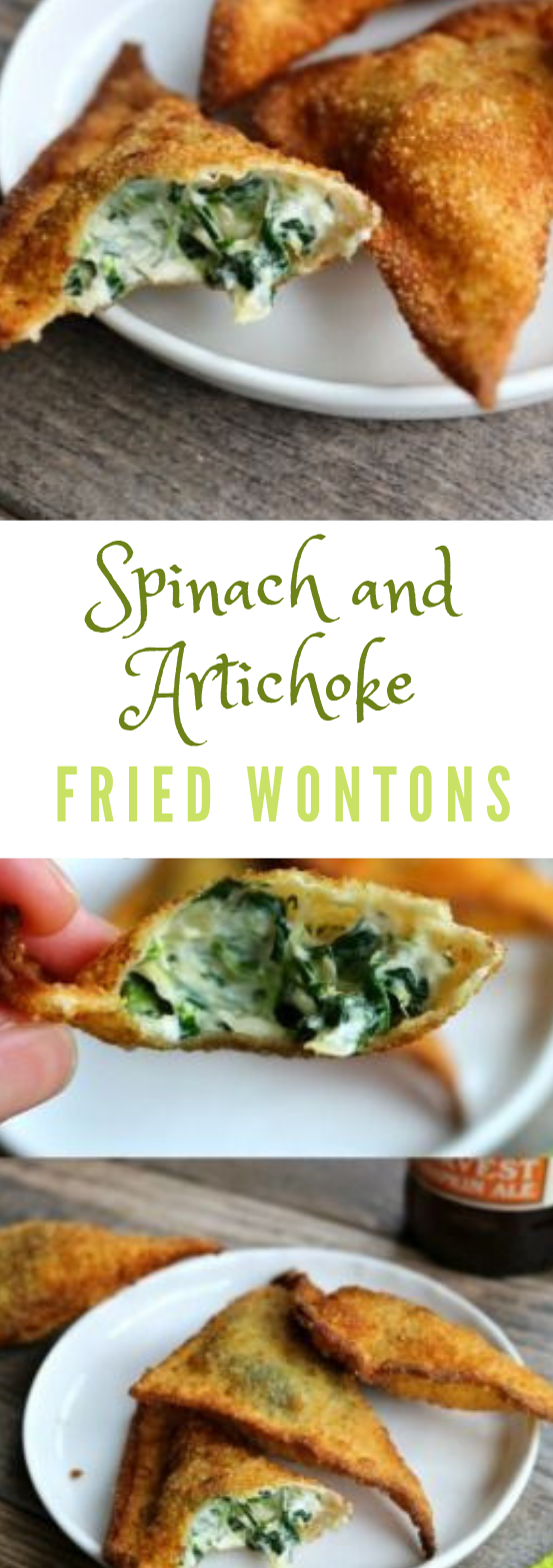 Spinach and Artichoke Fried Wontons #vegetarian #spinach